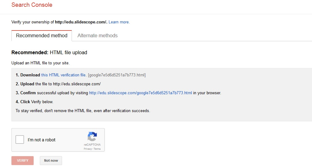 google webmasters console verification