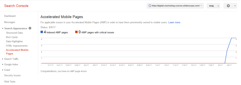 Accelerated Mobile Pages in Google Webmaster Tools