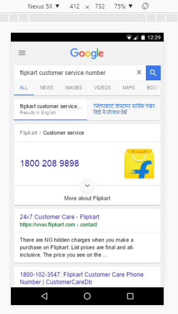 display corporate contact information in the google search rich cards