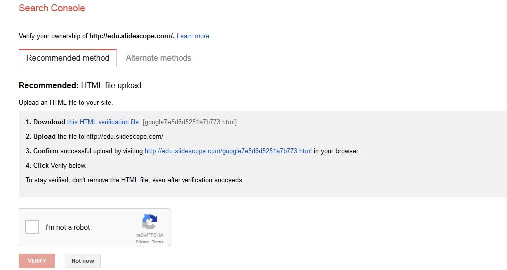 google webmasters console verification