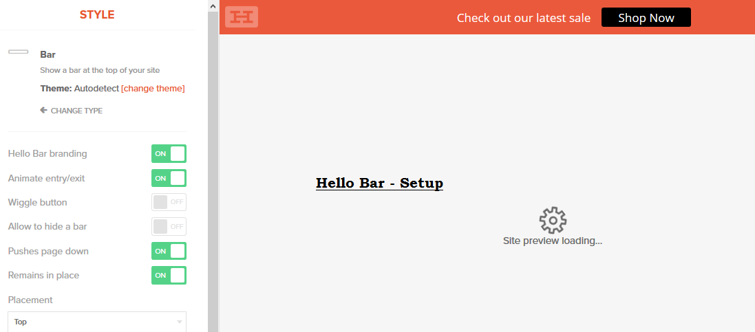 hello bar pop up form setup