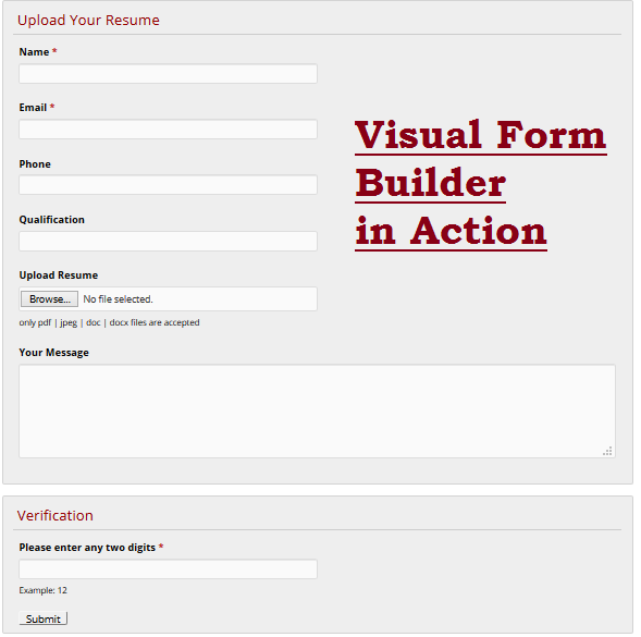 visual form builder in action - WordPress Plugins for creating stunning Forms